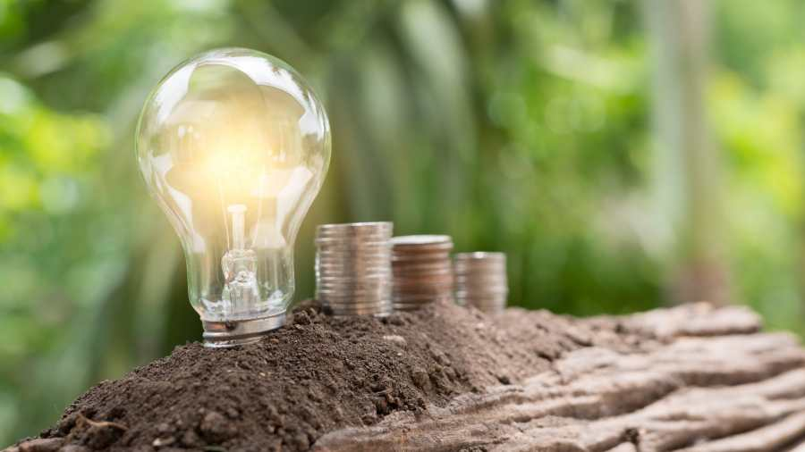 Light bulb represents electricity next to money
