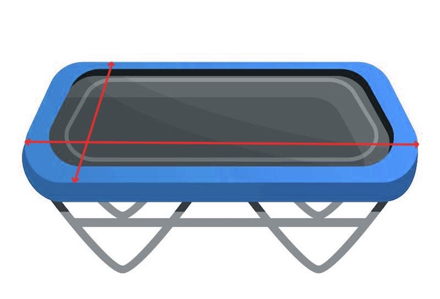 A rectangular trampoline with lines indicating how to properly measure it
