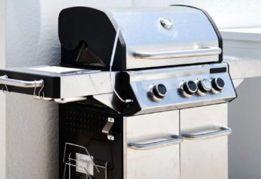 Brand new small gas grill on the patio