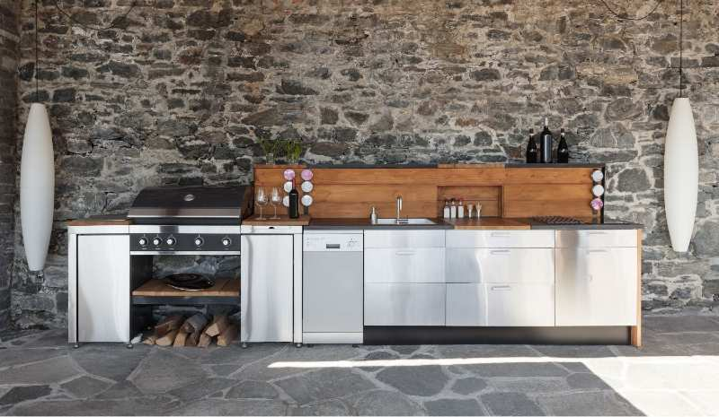 Built-in grill as a part of a backyard kitchen