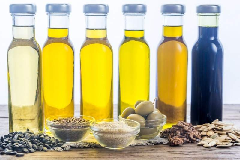 Bottles with different types of vegetable oil