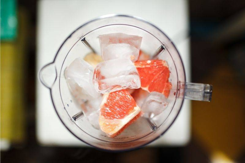 An above view of a blender before a frozen drink is made
