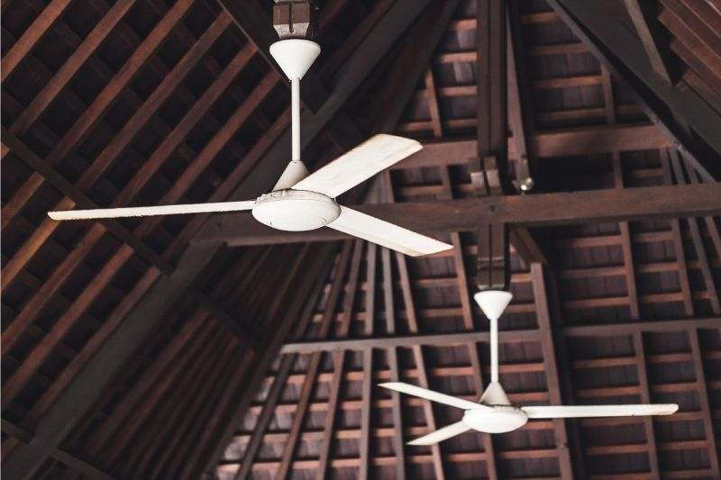 A couple of 3-bladed ceiling fans