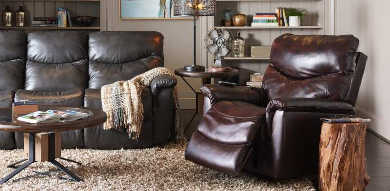 A brown, leather recliner in the living room