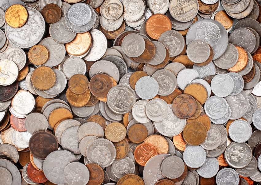 A large pile of coins