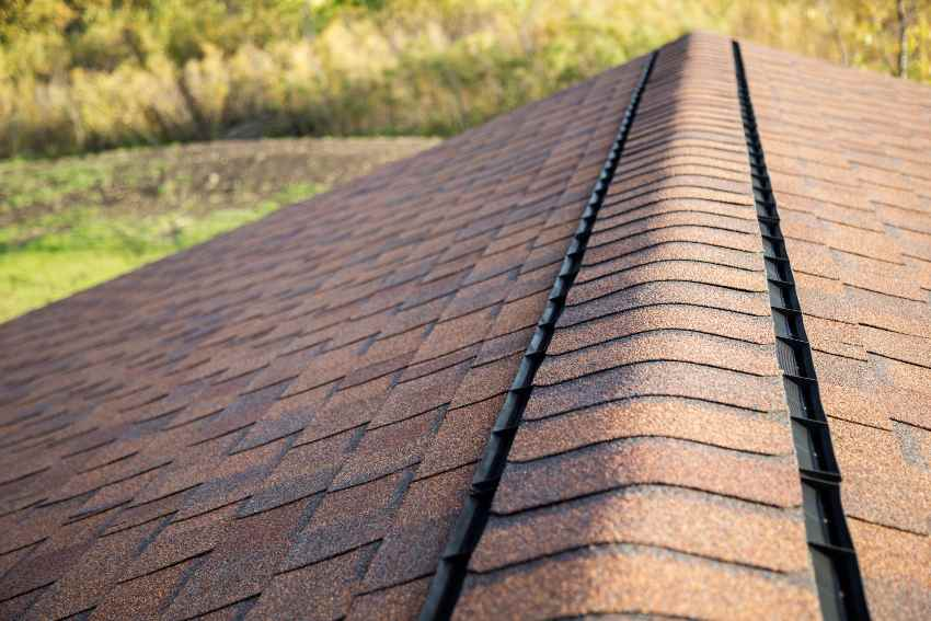 Red roof with a ridge vent