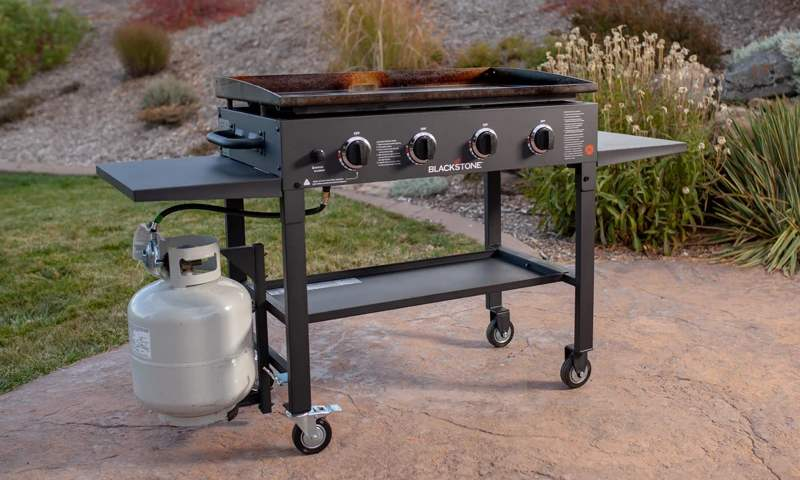 A 36-inch blackstone griddle in the backyard